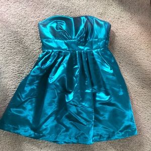 Teal blue satin strapless party dress